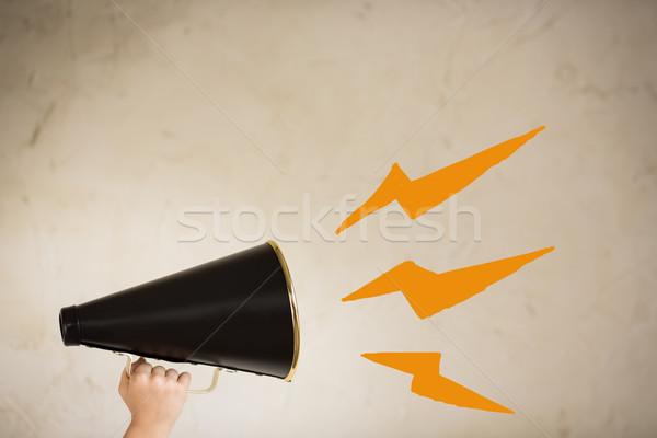 Comunicación vintage megáfono mano hablar negro Foto stock © Yaruta