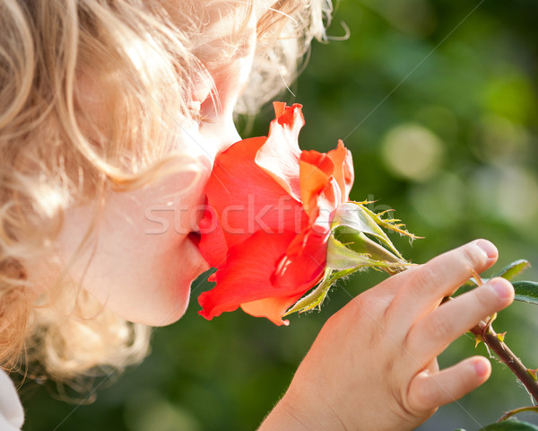 Beautiful child with flower Stock photo © Yaruta
