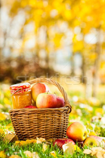 Zdjęcia stock: Jabłko · jam · jar · domowej · roboty · koszyka · pełny