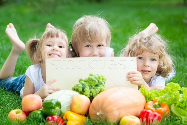 Сток-фото: детей · пикника · группа · счастливым · плодов · овощей