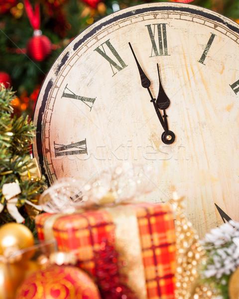 Gece yarısı eski ahşap saat Noel süslemeleri Stok fotoğraf © Yaruta