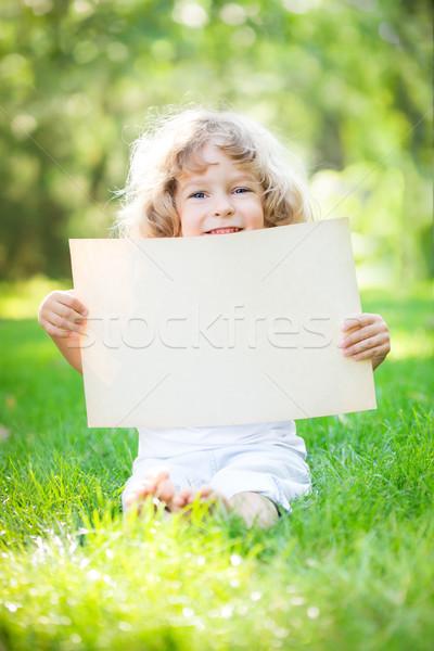 Child holding paper blank Stock photo © Yaruta
