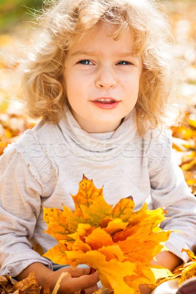 Foto stock: Engraçado · criança · outono · criança · amarelo