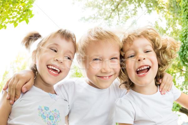 Stock foto: Ansicht · Porträt · glücklich · Kinder · lachen