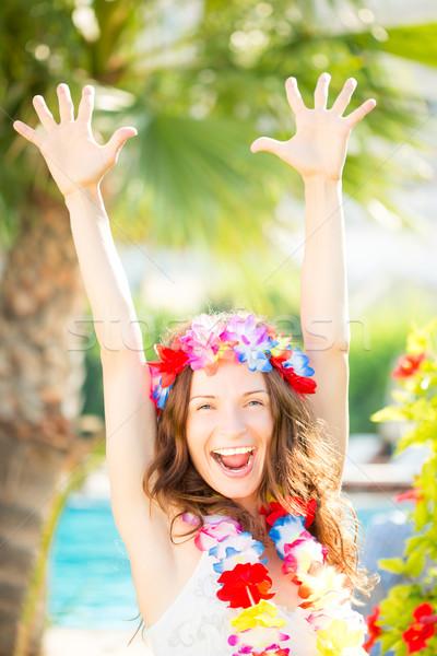 Gelukkig vrouw genieten zon strand zomer Stockfoto © Yaruta