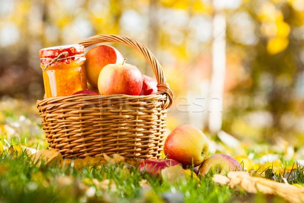 Zdjęcia stock: Jabłko · jam · jar · koszyka · pełny · świeże