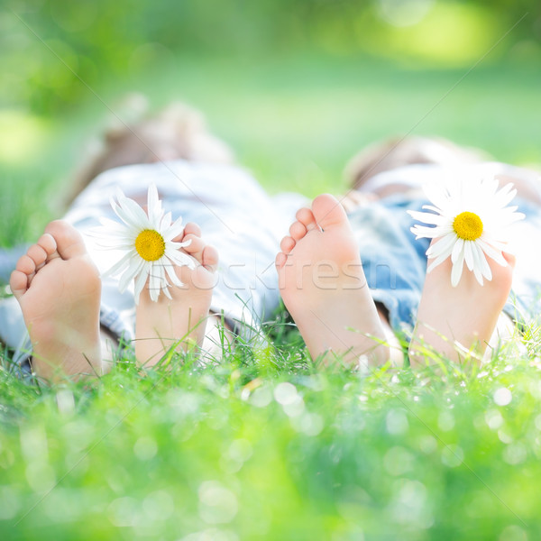 Family lying on grass Stock photo © Yaruta