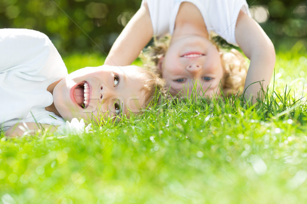 Stock photo: Happy children standing upside down