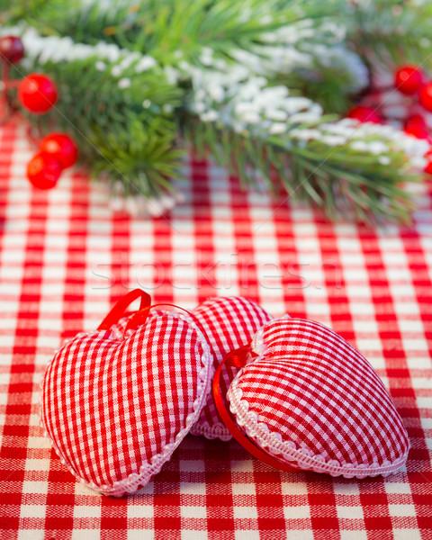 Arbre de noël décorations branche rouge nappe forme de coeur Photo stock © Yaruta