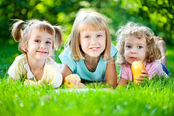 Gyerekek piknik csoport boldog mosolyog játszik Stock fotó © Yaruta