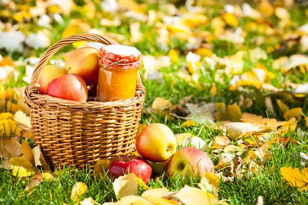 Zdjęcia stock: Jabłko · jam · jar · szkła · koszyka · pełny