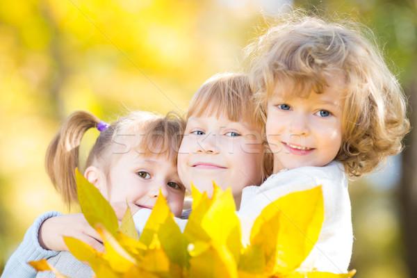 Ninos otono parque feliz arce hojas Foto stock © Yaruta