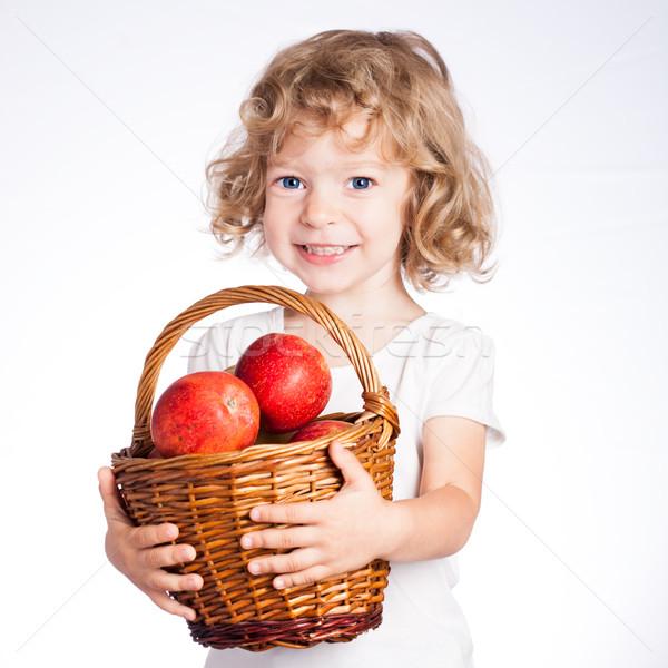 Bambino basket mele felice rosso isolato Foto d'archivio © Yaruta