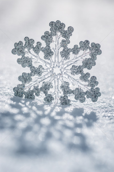 Silver Christmas decoration on snow Stock photo © Yaruta