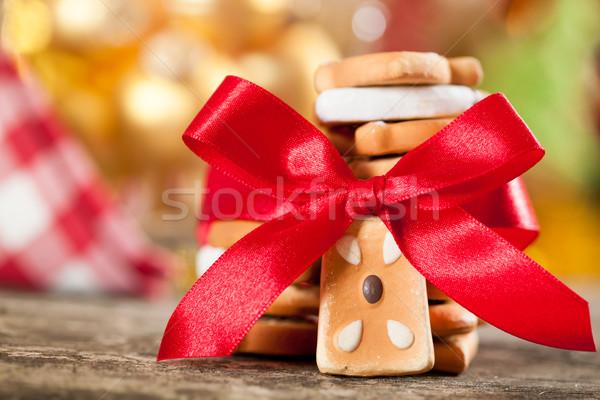 Foto stock: Bolinhos · vermelho · arco · natal · luzes · feliz