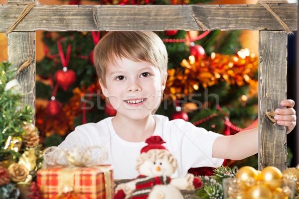 Foto stock: Olhando · quadro · moldura · de · madeira · decorado · natal