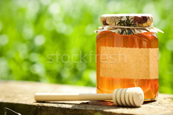 Virágos méz üveg bögre üres papír címke Stock fotó © Yaruta