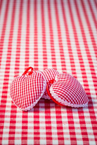 Tres corazones mantel rojo madres día Foto stock © Yaruta