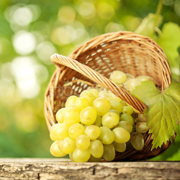 Stock photo: Bunch of graped and vine leaf in basket