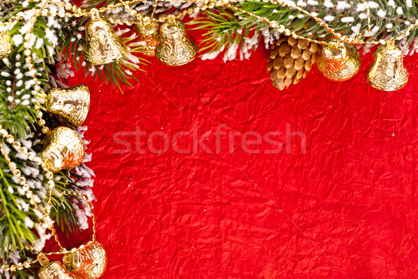 Christmas frame from branch and bells Stock photo © Yaruta