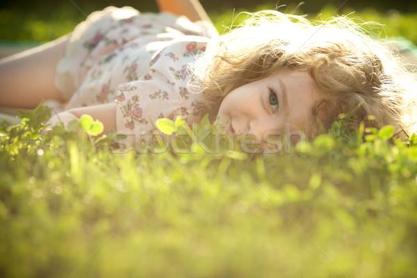 Primavera sentimiento hermosa nino hierba pradera Foto stock © Yaruta