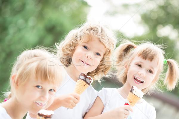 Stock foto: Kinder · Essen · Eis · glücklich · lächelnd · Freien