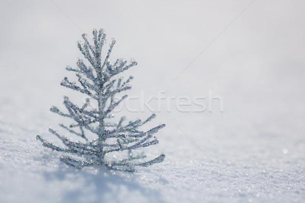 Silver Christmas tree decoration on snow Stock photo © Yaruta