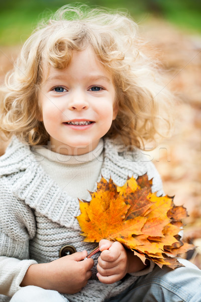 Foto stock: Criança · outono · sorridente · sessão · amarelo · bordo
