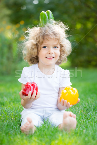 Child playing with vegetables Stock photo © Yaruta