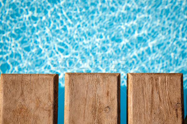 Nyár fából készült híd úszómedence víz medence Stock fotó © Yaruta