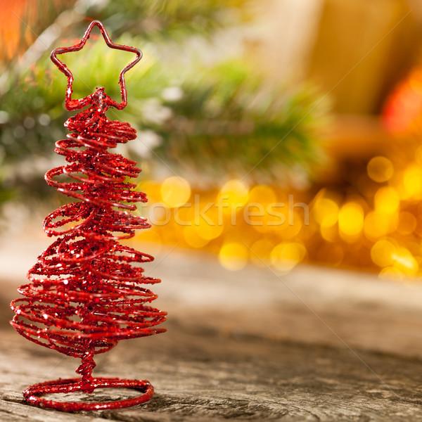 Handgemaakt kerstboom lichten boom gelukkig achtergrond Stockfoto © Yaruta