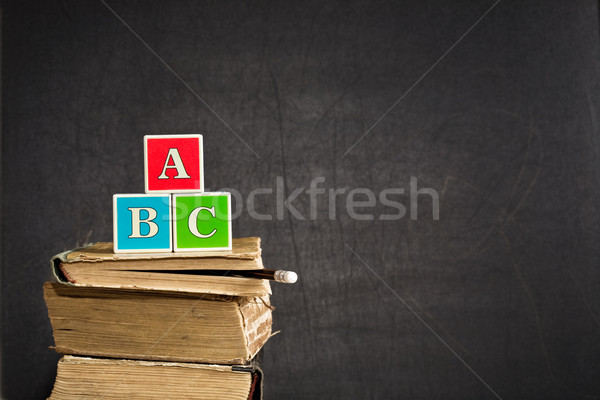 Oude Blackboard klas boek potlood Stockfoto © Yaruta