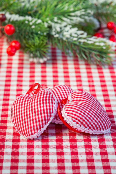 Hearts on gingham tablecloth Stock photo © Yaruta