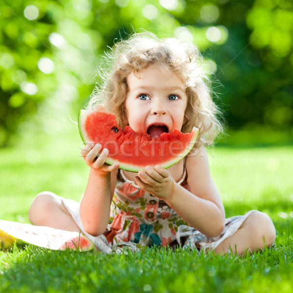 Stock photo: Child having picnic in park