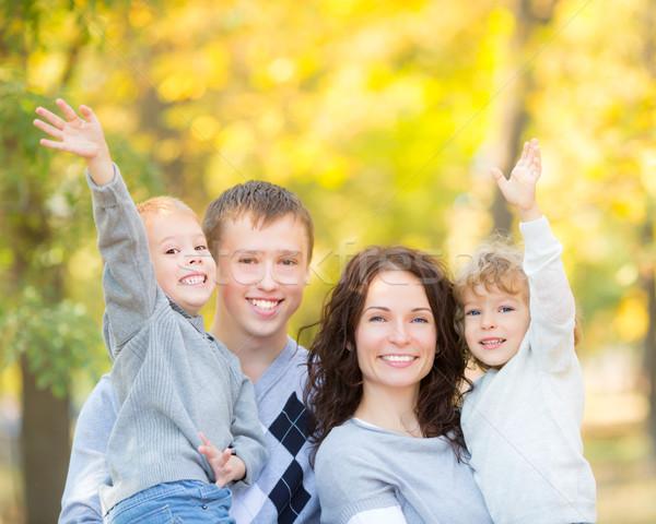 Stock foto: Glückliche · Familie · Herbst · Park · Freien · verschwommen