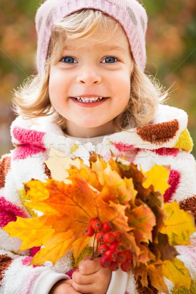 Foto stock: Criança · outono · parque · feliz