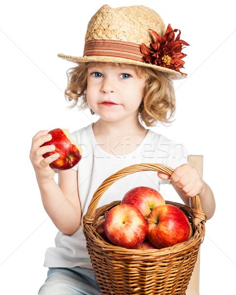 Stockfoto: Kind · mand · appels · eten · rode · appel · geïsoleerd