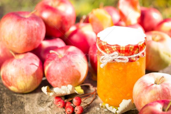 Stockfoto: Appel · jam · vruchten · houten · tafel · najaar · buitenshuis