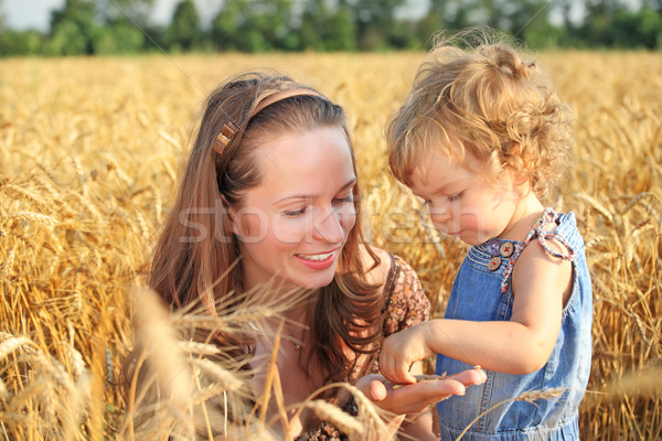 Woman with child in field Stock photo © Yaruta