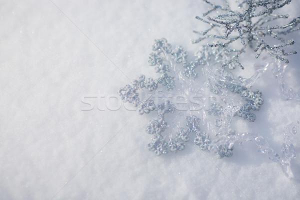 Stockfoto: Zilver · christmas · decoratie · sneeuw · mooie · sneeuwvlok