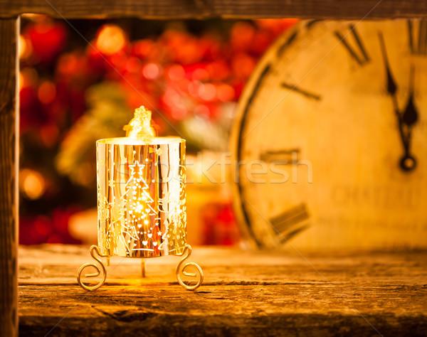 Noel mum gece yarısı yanan yılbaşı mutlu Stok fotoğraf © Yaruta