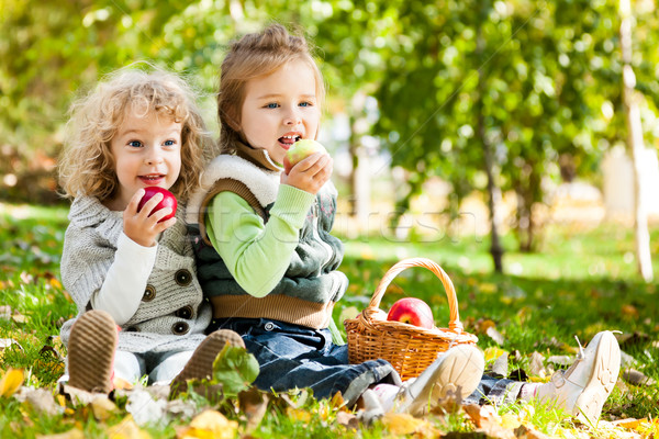 Children eating apples Stock photo © Yaruta