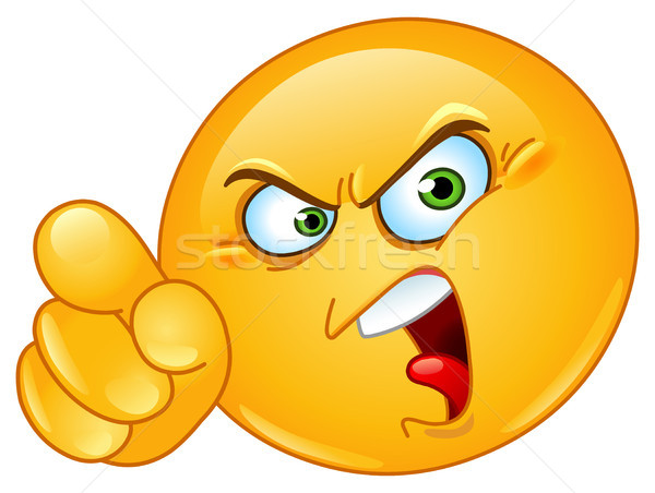 смайлик сердиться указывая человека дизайна знак Сток-фото © yayayoyo