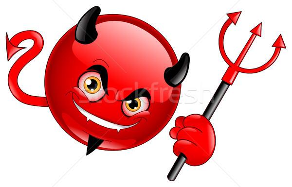 дьявол смайлик улыбка дизайна черный цвета Сток-фото © yayayoyo