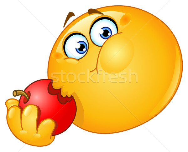 смайлик еды яблоко стороны дизайна фрукты Сток-фото © yayayoyo