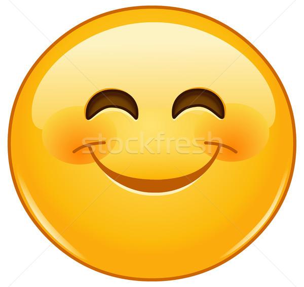 Smiling emoticon with smiling eyes Stock photo © yayayoyo