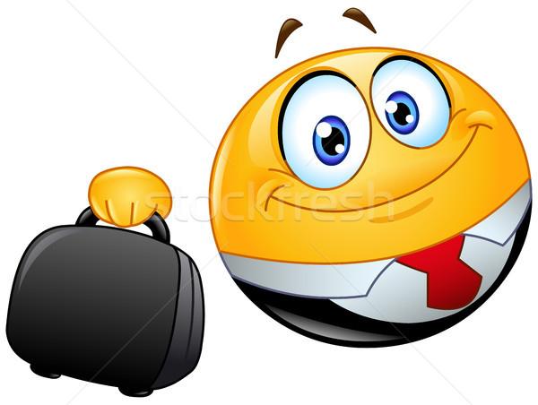 бизнеса смайлик портфель улыбка человека Сток-фото © yayayoyo
