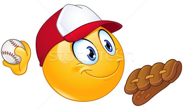 бейсбольной смайлик игрок мяча перчатка стороны Сток-фото © yayayoyo