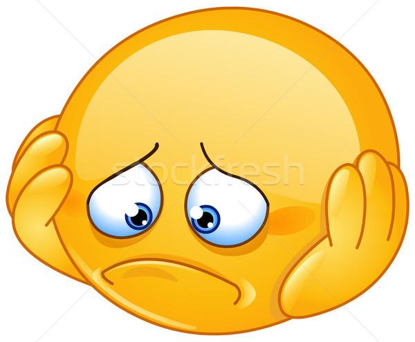 депрессия смайлик печально рук лице человека Сток-фото © yayayoyo