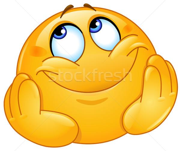 Dromerig emoticon hoofd handen gelukkig ontwerp Stockfoto © yayayoyo